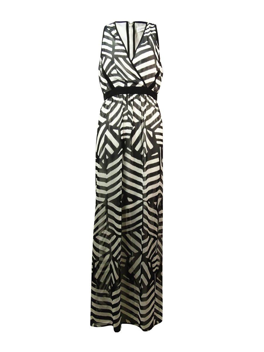 Calvin Klein Women's V-Neck Printed Chiffon Maxi Dress (4P, Black/Cream)