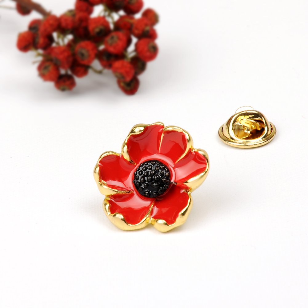 Evbea Red Poppy Brooches Lapel Pin Badges Poppy Flower Remembrance