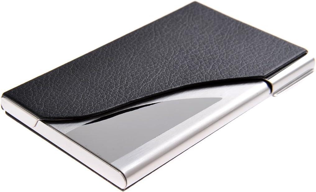 Tarjetero/Estuche para tarjetas de visita, hecho de acero inoxidable de alta calidad y cuero, para 19-21 tarjetas, de negro, 398-01 (DE)