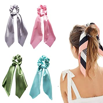 Solid Floral Bow Scrunchie Hair Band Elastic Hair Ties Rope Scarf Accessories