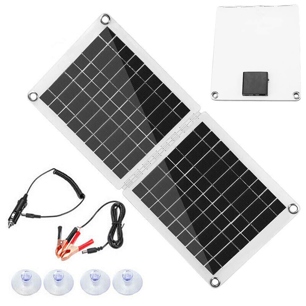 Antipioggia Pannello Solare Caricatore Esterno Modulo Solare Cella Solare Campeggio Giardino 60W Pannello Solare Monocristallino Pieghevole con Regolatore di Carica