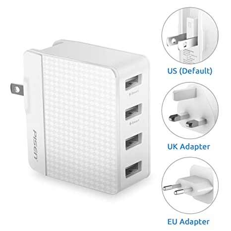 Amazon.com: Pisen Cargador de pared USB 4-Port carga rápida ...