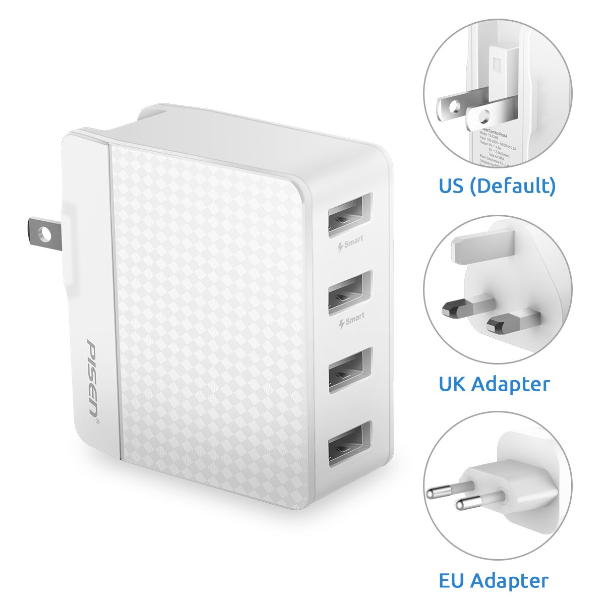 PISEN 4 Port USB Wall Charger, Universal Travel Adapter with US UK EU Foldable AC Plug 20W 5V 4A Total Output for iPhone, IPad, Samsung Galaxy, Nexus, Tablets and Android Smartphones (White)