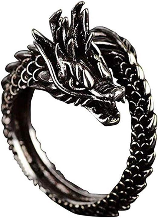 LnLyin Anneaux De Dragon Ouverts Domination Domestique Vintage Anneaux De Mode Gothique Punk Rock Anneaux Pour Hommes