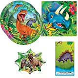 Dinosaur Birthday Party / Table Ware Pack for 16 + Complimentary Jumbo Jurassic World Foil Balloon