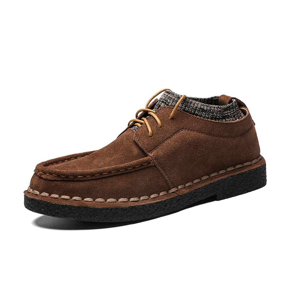 Yellowish Brown Easy Go Shopping Oxford shoes for Man Casual Loafers Fashion Comfortable Lace Up British Style Flats shoes Suede Leather Upper Round Toe Abrasion Resistant Cricket shoes