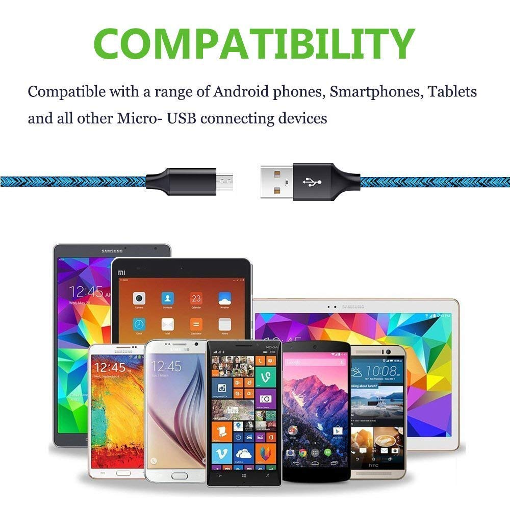 Kindle Fire 7 8 10 LG Stylo 2//3 plus Cebkit 2-Pack 6FT Phone Charger Power Cords Android Long Fast Charging Cables Compatible Samsung Galaxy S6 S7 Edge J3 J7,Note 3 4 5,Tablet S2 S4 Micro USB Cable