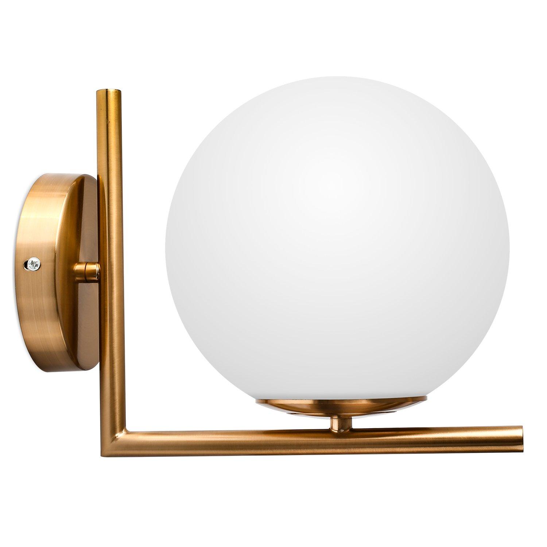 DECKEY Designklassiker Kugel Wandleuchte moderne Wandlampe Opalglas Φ 20cm für für für E27 Leuchtmittel für Wohnzimmer Esszimmer Restaurant Keller Untergeschoss usw. dc77b7