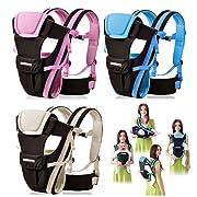 CdyBox Adjustable 4 Positions Carrier 3d Backpack Pouch Bag Wrap Soft Structured Ergonomic Sling Front Back Newborn Baby Infant (Pink)
