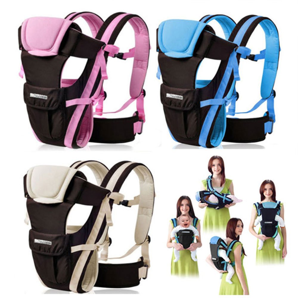 CdyBox Adjustable 4 Positions Carrier 3d Backpack Pouch Bag Wrap Soft Structured Ergonomic Sling Front Back Newborn Baby Infant (Pink)