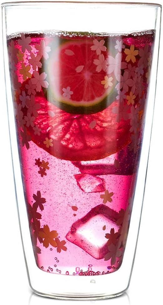 YUESFZWXQ Vasos Taza De Bebida Sakura, Vidrio De Doble Capa, Taza De Leche De Gran Capacidad, Taza De Café Resistente Al Calor, Taza De Agua Transparente, Taza De Helado (Color : Clear,