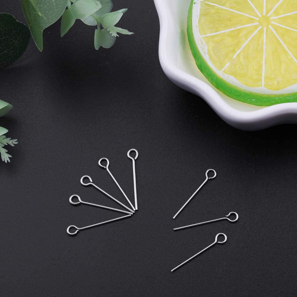 NBEADS 2000pcs Stainless Steel Eyepins Open Eye Pins Headpins Jewelry Making Findings 1.77 Inch 45mm, Hole: 2mm; pin: 0.7mm
