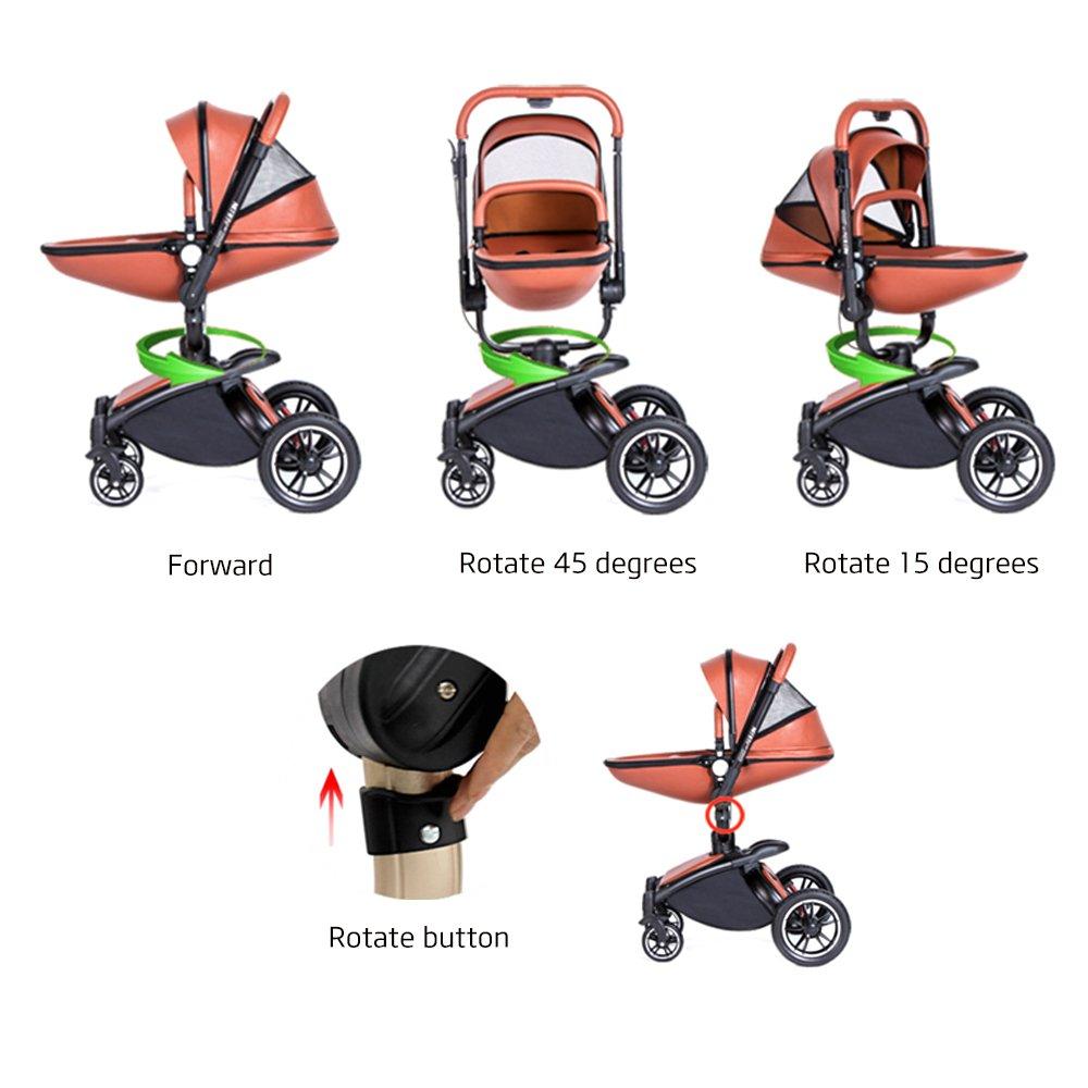 SpringBuds Shock-resistant Luxury High Landscape Folding Aluminum Alloy Frame Baby Stroller Infant Toddler Seat and Bassinet Combo-White by Springbuds (Image #2)