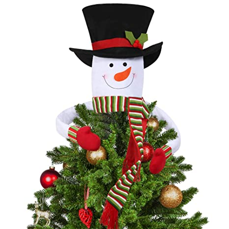 D Fantix Snowman Christmas Tree Topper Large Top Hat Snowman Tree Topper Outdoor Indoor Novelty Christmas Decorations Xmas Holiday Winter Wonderland