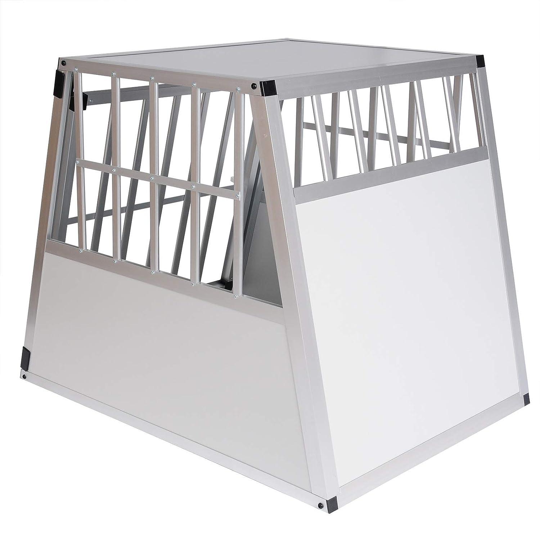 Porta-Animali per Viaggio E-starain Gabbie da Trasporto per Cani in Alluminio Gabbia per Cani Gatto Animali Piccoli Colore Bianco 85x65x69cm