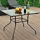 """Giantex 37 1/2"""" Square Dining Table Glass Top Deck Patio Yard Garden Outdoor Furniture (Glass Table)"""