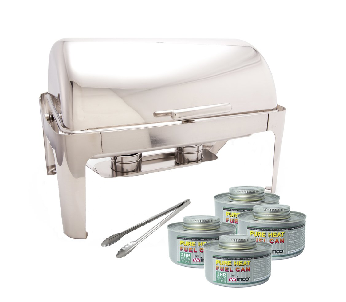 PrestoWare PWR-1RE, Full-size Roll-Top Chafer ,Stainless Steel 8 Quart Chafing Dish Set with 2 Chafing Dish Fuel and 16-Inch Stainless Steel Multi-Function Tong
