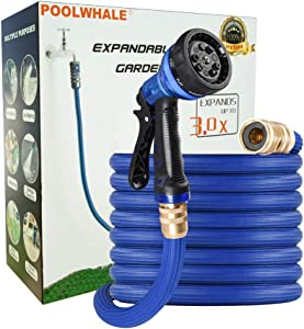 POOLWHALE Upgraded 50ft Expandable Garden Hose,Heavy Duty Material Water Hose with High Pressure Hose Spray Nozzle, Flexible Garden Hose with All Brass Connectors,Rot, Crack, Leak Resistant