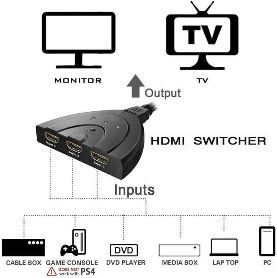 1080P Manuell HDMI Switcher HDMI Switch 4K Techole HDMI Umschalter Automatische// 3 zu 1 HDMI Verteiler HDMI Umschalter Vergoldet 3-Port HDMI Switch HDMI Verteiler HDMI Switch
