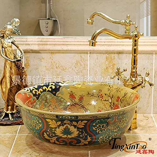 Tempered Glass Bath Vessel Sink And Mixer Faucet Tap,8.18 Retro Green Treasure Flower Art Basin High Temperature Firing Ceramics Sanitary Ware Sanitary Ware Wash Basin 4116Cm