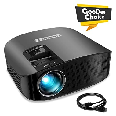 Projector, GooDee HD Video Projector 3800L Outdoor Movie Projector, 200  Home Theater Projector Support 1080P, Compatible with Fire TV Stick, PS4, HDMI, VGA, AV and USB