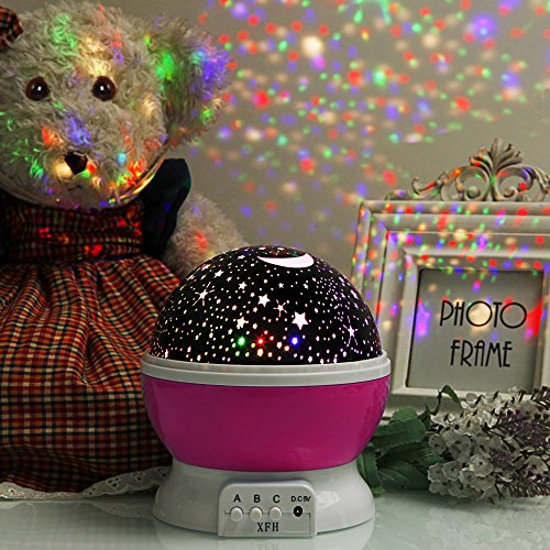 Star Projector night light Lamp Dreaming Sky Ceiling Shining Stars and Moon in Room for Kids Boy Girl Gift Pink (Fans For A Girls Room)