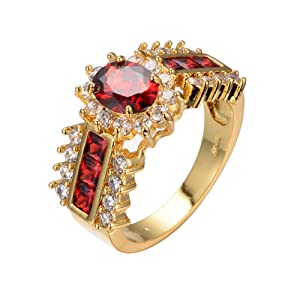 2017 New Arrival Red Jewelry Red Zircon Rings for Women & Men Engagement Band 10KT Yellow Gold Filled Crystal Wedding Ring (7)