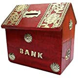 ITOS365 Handicrafted Wooden Money Bank Home Style Red Kids Piggy Coin Box Gifts