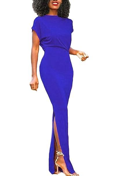 9fe2770a7d Cocktailkleider Damen Festlich Lang Elegant Abendkleider Lang Sommer Mode  Bekleidung Kleider Kurzarm Rundhals Slim Fit Einfarbig Uni-Farben Mit  Schlitz ...