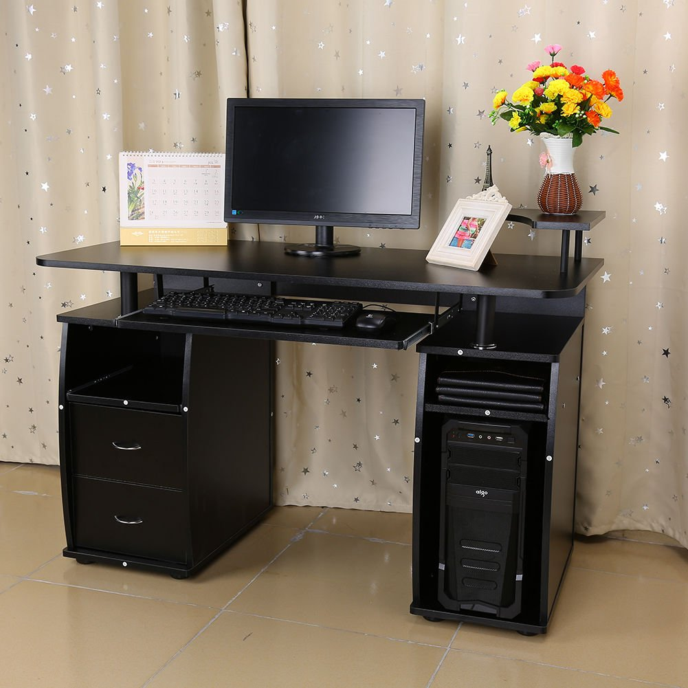 Home Computer Desk Office Workstation Writing Table Storage Shelf Wood Furniture by On-anongstore (Image #2)