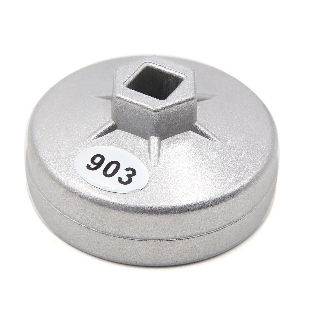 sourcingmap® L'alliage aluminium 14 mm flûte 76mm diamètre intérieur Cap-Type Clé filtre huile pour véhicule a17011200ux0568
