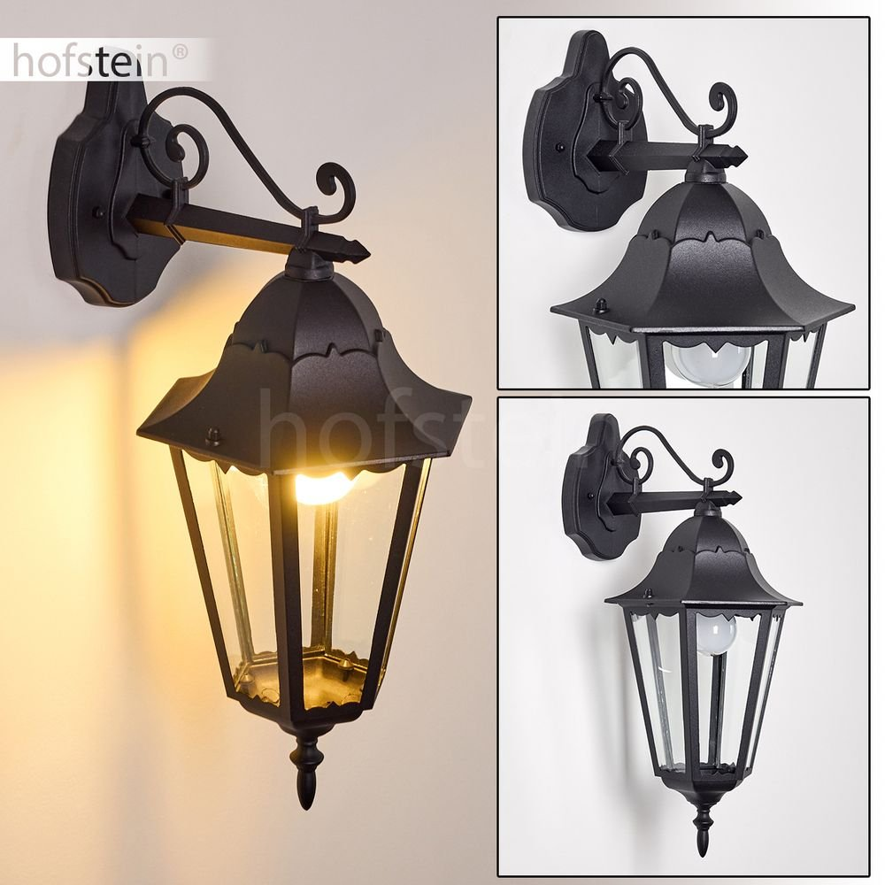 klassische Sockelleuchte Hongkong in Schwarz - Gartenlampe im retro-Design - Rustikale Außenleuchten aus Aluguß - Wegeleuchte für den Garten hofstein 1334L-SW