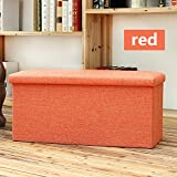 Do4U Linen Folding Organizer Storage Ottoman Bench Footrest Stool Coffee Table Cube, Camping Fishing Stool, Quick and Easy Assembly, Perfect for Child (30''x15''x15'', Linen Red)