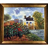 overstockArt Monet Artist's Garden with Athenian Gold Frame Oil Painting, Antique Finish