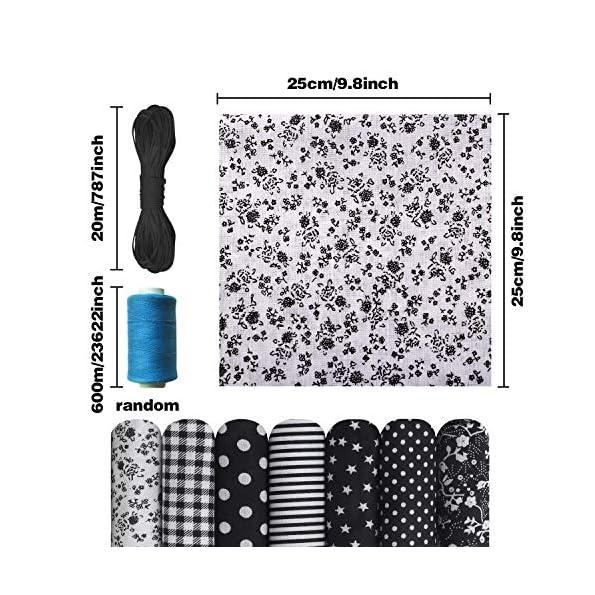 RayE-14-Stck-Baumwollstoff-Meterware-Stoffreste-Stoff-Stoffpaket-25-x-25-cm-20m-x-Gummibnder-DIY-Baumwollstoff-fr-Nhen-Stoffe-Patchwork-mit-vielfltiges-Muster-zum-nhen-schwarz