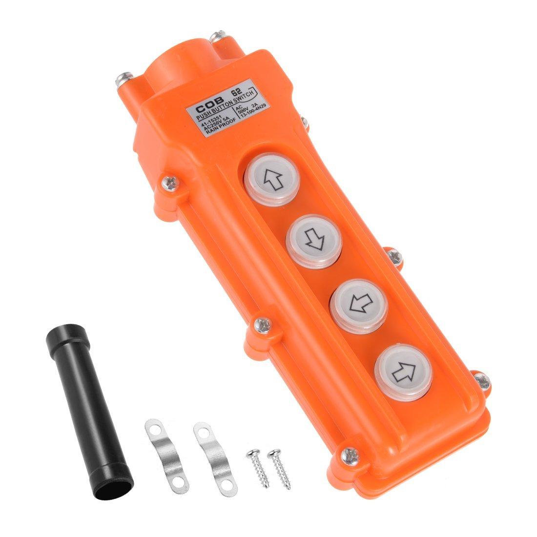 uxcell Rainproof IP55 Hoist Crane Pendant Control Station Push Button Switch Up Down East West 4 Ways