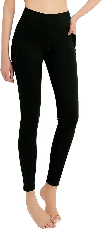 Jimilaka Womens Thermal Fleece Lined Leggings Winter Yoga High Waisted Pocketed Workout Pants