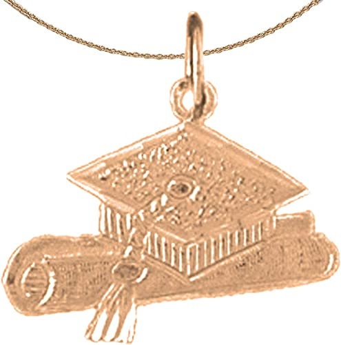 Jewels Obsession Graduate Necklace 14K Rose Gold-plated 925 Silver Graduate Pendant with 18 Necklace