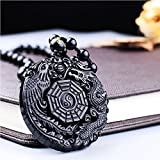 MOHICO Black Elegant Round Natural Obsidian Crystal Pendant Necklace Dragon and Phoenix Pattern with extend Bead Chain for Men or Women