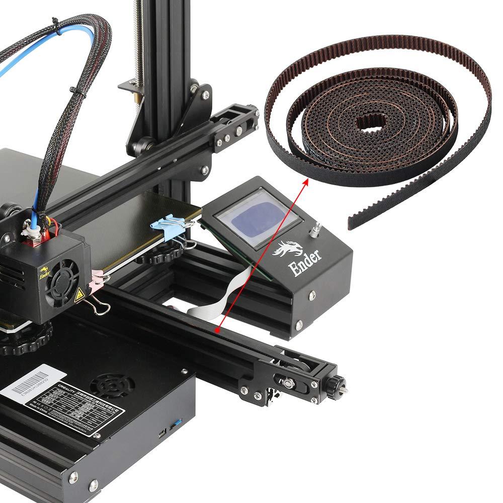 BCZAMD 3D Printer Timing Belt 2M GT2 Timing Belt Open Fiberglass Reinforced Rubber 2GT-6RF Timing Belt Width 6MM Fit for RepRap Prusa I3 MK3 MK3S Ender-3 CR10 ANET Mendel Rostock 3D Printer CNC