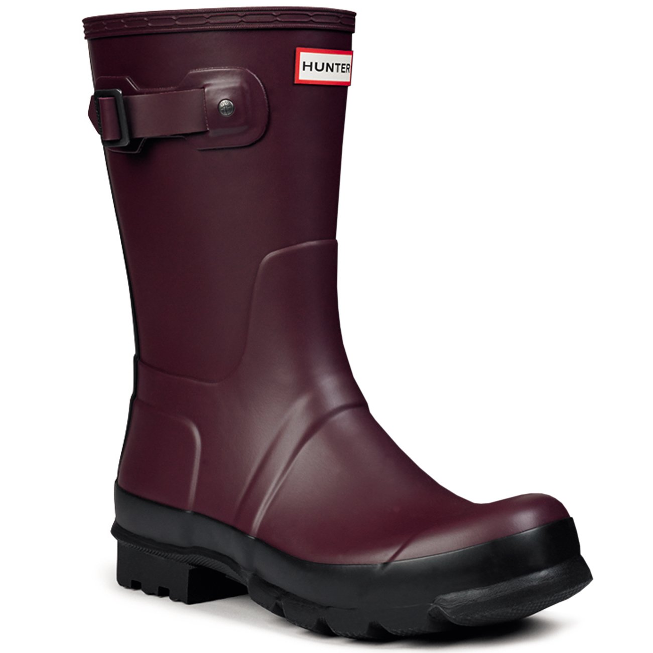 Mens Hunter Original Two Toned Short Snow Winter Wellingtons Rain Boots - Burgundy - 8