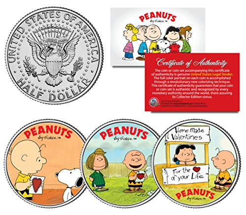 PEANUTS VALENTINES Snoopy Lucy Patty Charlie Brown JFK Half Dollar US 3-Coin - Shops Merrick At