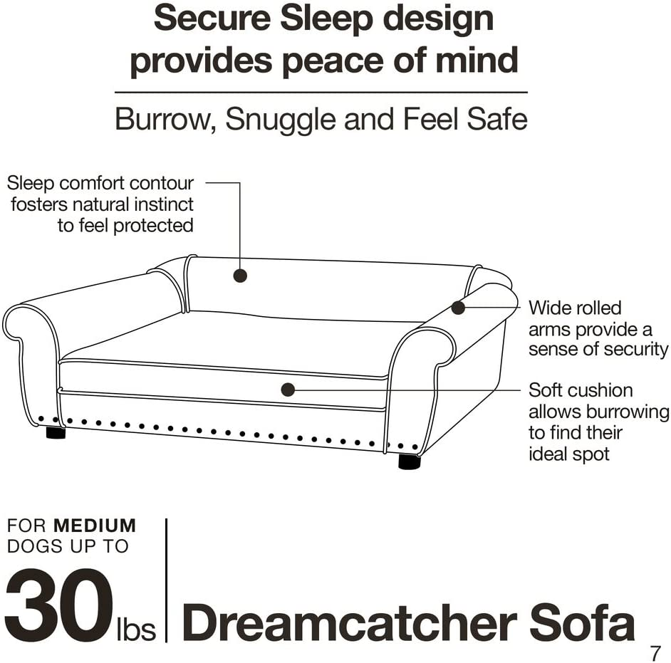 Enchanted Home Pet Dreamcatcher Dog Sofa, 32.5 by 21 by 12-Inch, Caramel : Pet Supplies