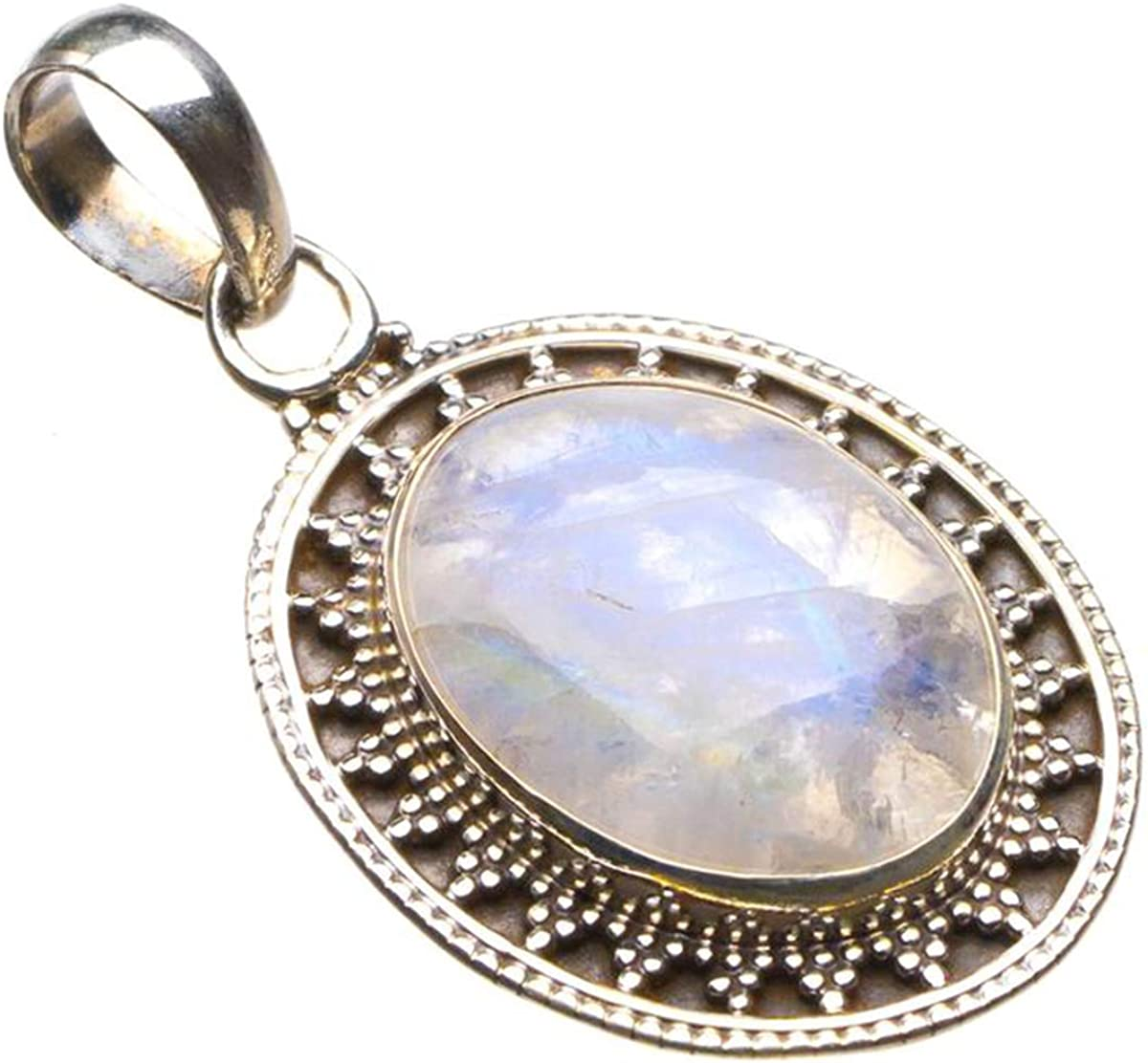 Natural Rainbow Moonstone Handmade 925 Sterling Silver Pendant 1.5 D2047