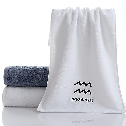 ounona 12 Juego de toallas de algodón puro diseño constelación, toalla facial de algodón bordado