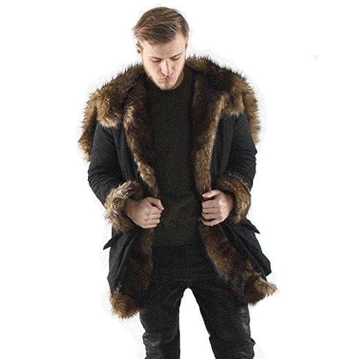 fe8e5521f11 TOOPOOT Men Faux Fur Parka Outwear,Winter Mens Warm Thicker Long Hoodie  Jacket Coat Jacket