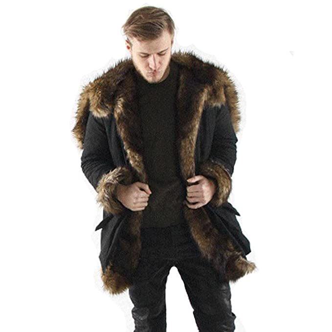 check out 6e1ba 2dc97 TOOPOOT Men Faux Fur Parka Outwear,Winter Mens Warm Thicker Long Hoodie  Jacket Coat Jacket