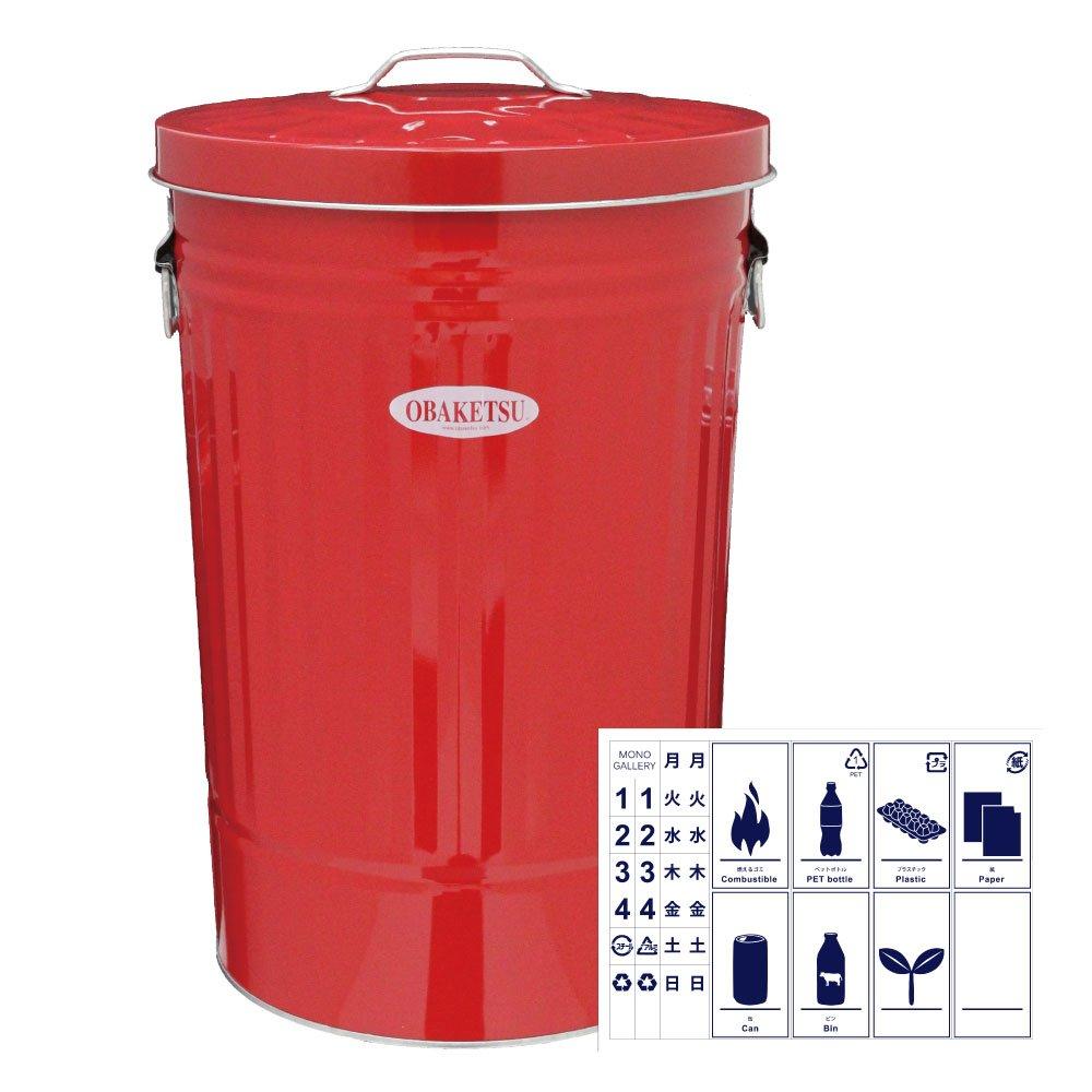 OBAKETSU 42L カラー + 分別ステッカー 【2点セット】 ゴミ箱 ごみ箱 ダストボックス おしゃれ ふた付き オバケツ 渡辺金属工業 CR45 (レッド) B074NX4BV9 レッド レッド
