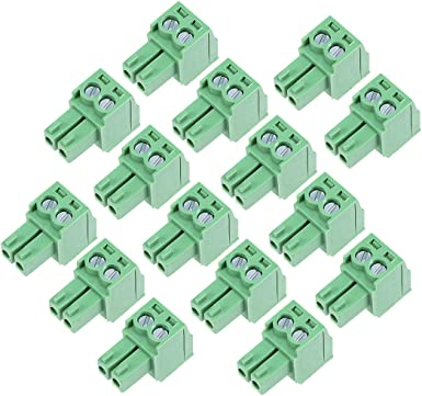 sourcing map 2Pcs AC300V 8A 3.81mm Pitch 9P Flat Angle Needle Seat Insert-in PCB Terminal Block Connector Green