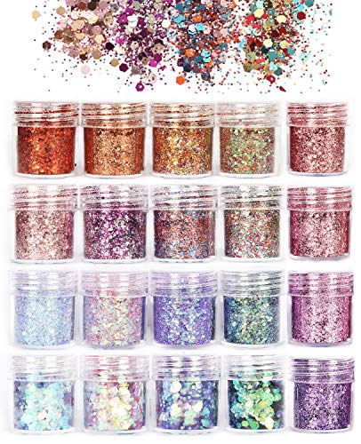 Counting Mars 20 Boxes Chunky Glitter, Nail Sequins Iridescent Flakes Ultra-thin Tips Colorful Mixed Paillette Festival Glitter powder For Nail Face Body Hair Makeup, Glitter Nail Decorations